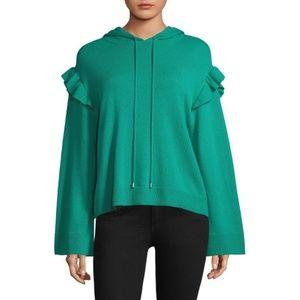 Joie Pammeli Cashmere Ruffle Hooded Sweatshirt S
